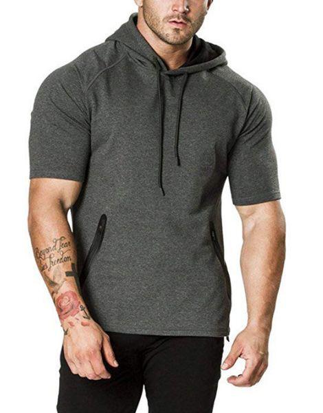 custom o neck short sleeve men gym hoodies manufacturers